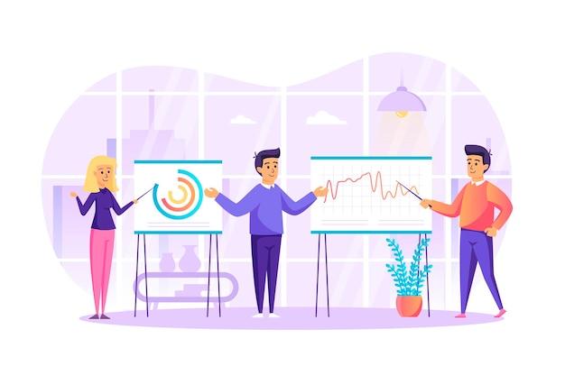 Big data-analyse en marktonderzoek plat ontwerpconcept met de scène van mensenkarakters