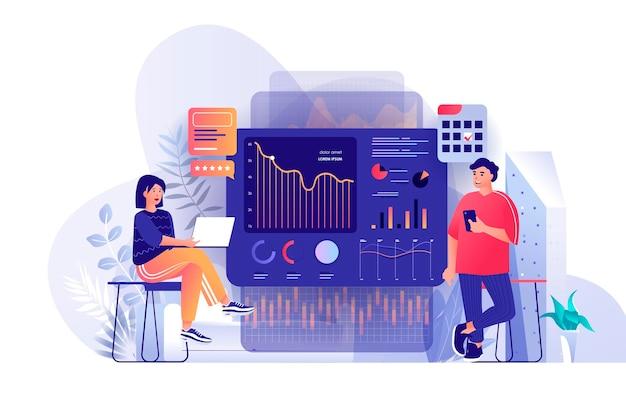Big data-analyse scène illustratie van personen karakters in platte ontwerpconcept