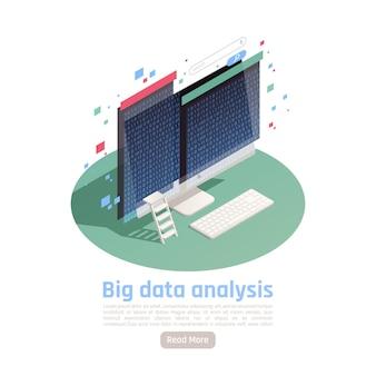 Big data-analyse zakelijk onderzoek geautomatiseerde rapportage isometrische compositio