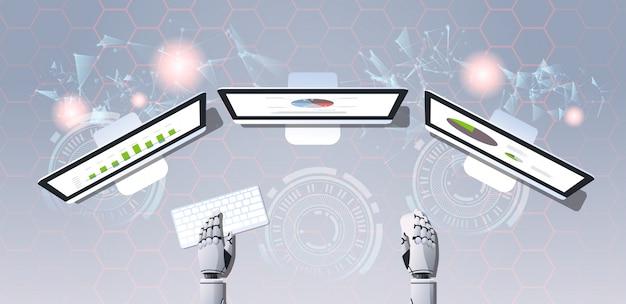 Big data analyseer botconcept robot op werkplek analytics bedrijfsrapport financiële resultaten op