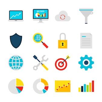 Big data analytics-objecten. bedrijfsstatistieken set van items geïsoleerd over wit.