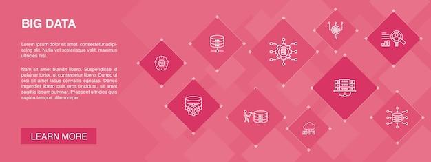 Big data banner 10 pictogrammen conceptdatabase kunstmatige intelligentie datacenter eenvoudige pictogrammen