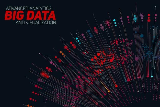 Big data circulaire grijswaardenvisualisatie. informatie esthetisch ontwerp. visuele gegevenscomplexiteit. complexe gegevensdraden grafische visualisatie.