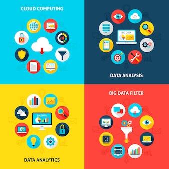 Big data-concepten instellen. vectorillustratie van database infographics cirkel met plat pictogrammen.