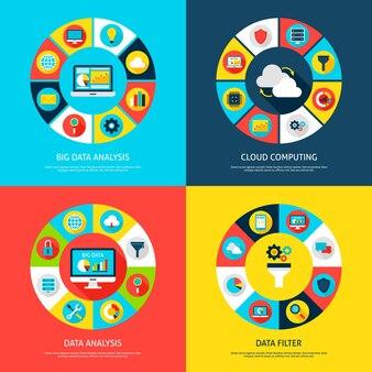 Big data-concepten. vectorillustratie van database infographics cirkel met digitale pictogrammen.