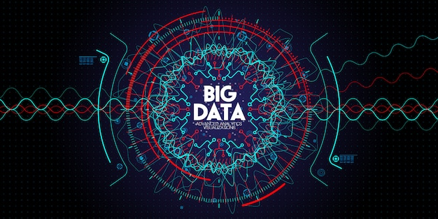 Big data geavanceerde technologie en visualisatie met fractal-element met lijnen en stippen array op donker