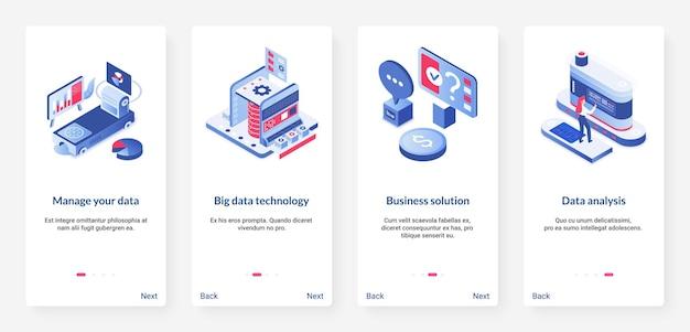 Big data management, digitale technologie isometrisch. ux, ui onboarding mobiele app set met cartoon 3d-gegevensopslagmachine, database-cyberservice om datacenter te beheren