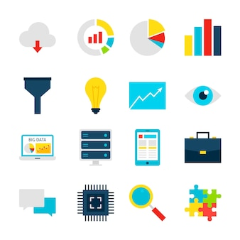 Big data-objecten. business analytics set van items geïsoleerd over wit.