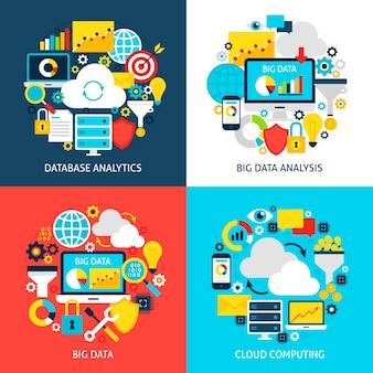 Big data platte concepten. ontwerp vectorillustratie. verzameling van affiches voor bedrijfsanalyse.