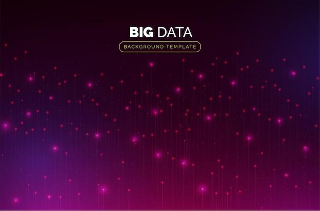 Big data-sjabloon met kleurrijke deeltjes