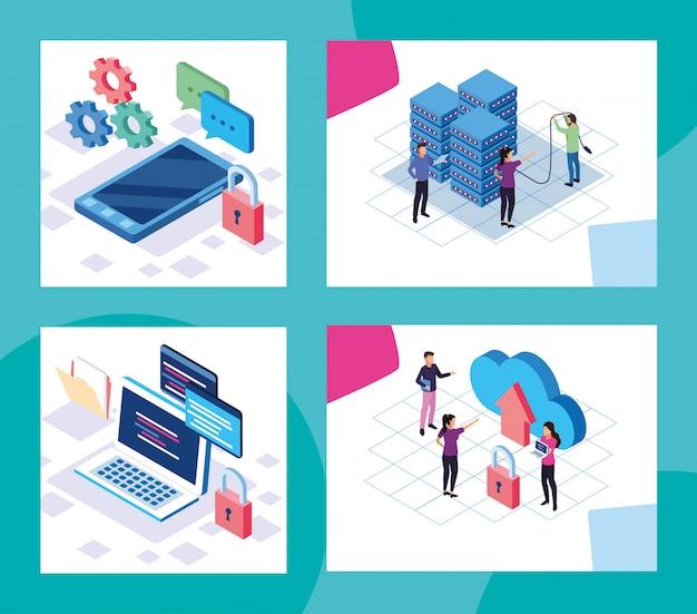 Big data-technologie met mensen en apparaten vector illustratie ontwerp