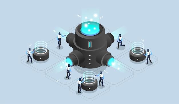 Big data-verwerking, datacenter-magazijn, datawetenschap, serverruimte. tech visualisatie. moderne isometrische illustratie.