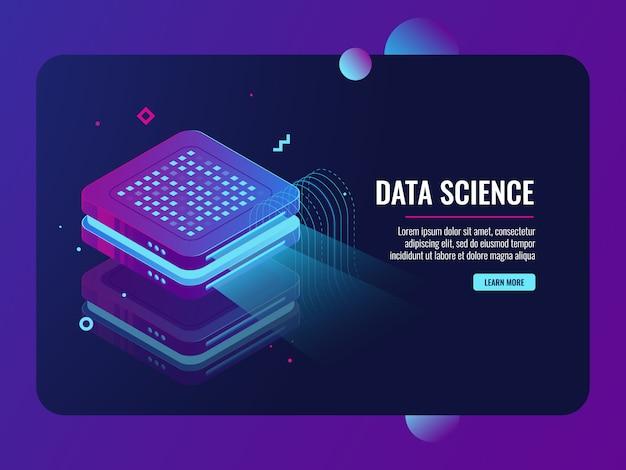 Big data-verwerking, presentatie op projector-machine, cloud-overdracht van gegevensopslag