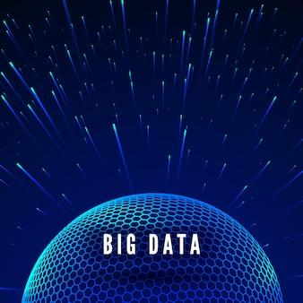 Big data visualisatie. datastromen rond wereldwijd netwerk. futuristische technologie blauwe achtergrond. illustratie