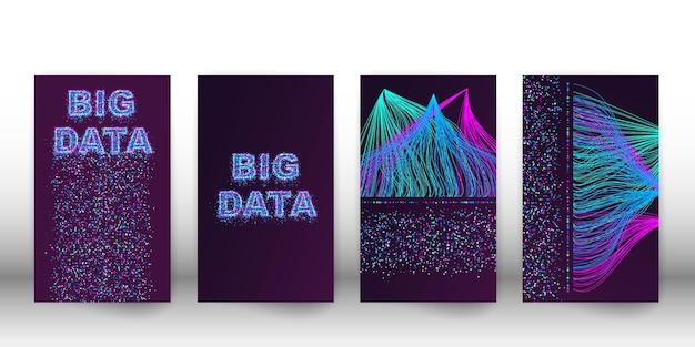 Big data visualisatie netwerk. cover set van futuristische infographics, 3d-golf, virtuele stroom, digitaal geluid, muziek. vector abstracte kleurrijke big data-informatie.