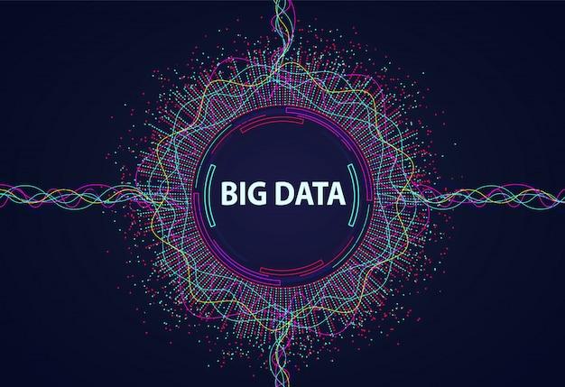 Big data. visuele informatiestroom van punten en lijnen.