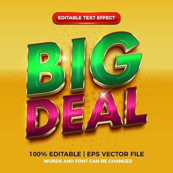 Big deal luxe gouden 3d bewerkbare teksteffect