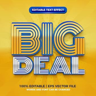 Big deal modern blauw geel 3d bewerkbaar teksteffect