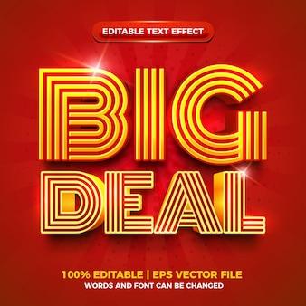 Big deal rood goud vet 3d bewerkbaar teksteffect