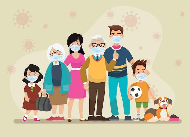 Big family beschermt hun kinderen en draagt maskers en stopt de verspreiding van virussen