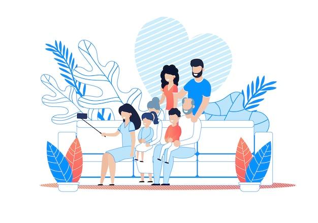 Big family selfie op smartphone cartoon.