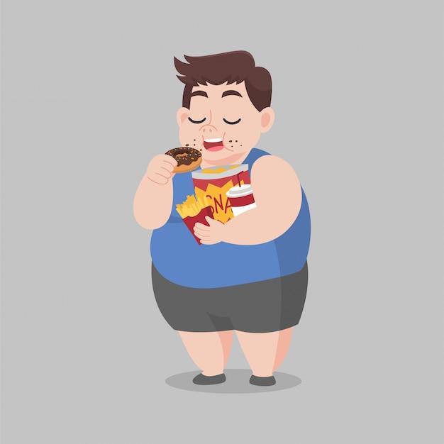 Big fat happy man geniet van eet donut snack