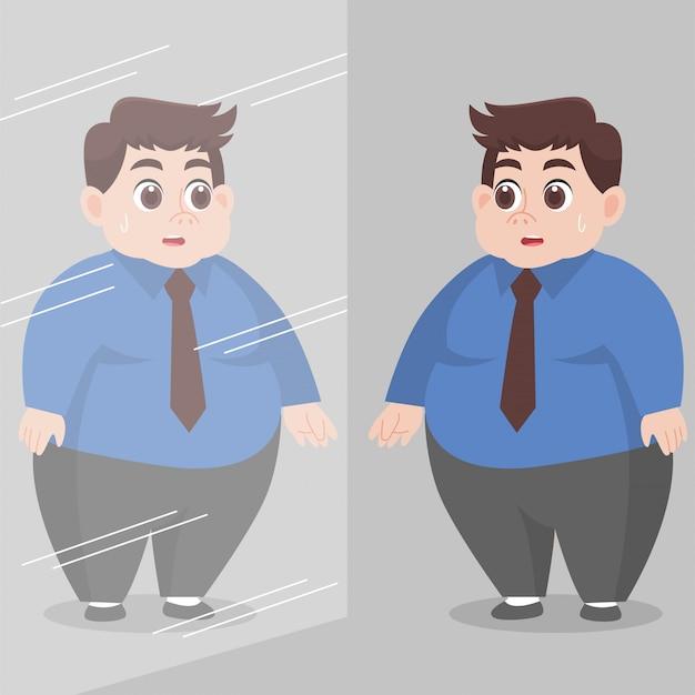 Big fat man kijkt zichzelf in de spiegel