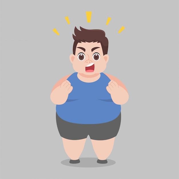 Big fat man probeert af te vallen