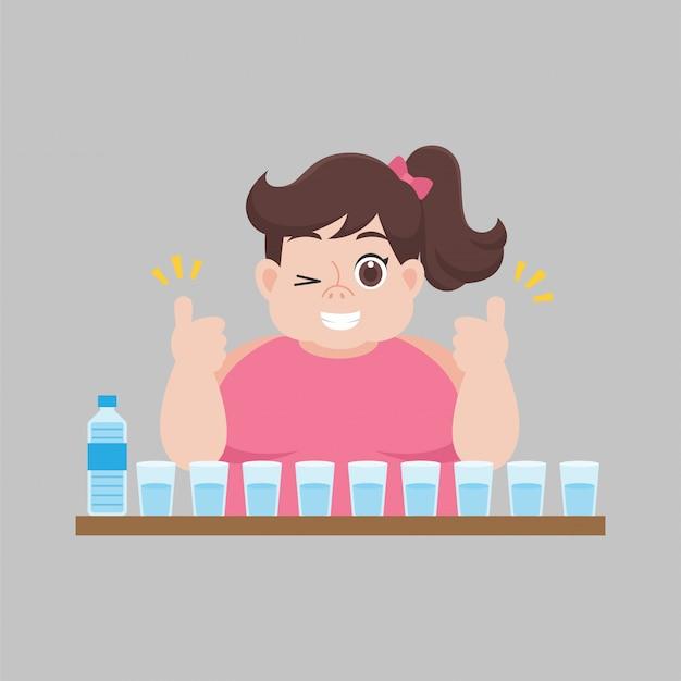 Big fat vrouw houdt van zoet water drinken