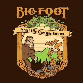 Big foot be friend with bird bat snake squirrel ground hog in forest