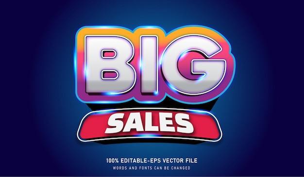 Big sales tekst effect bewerkbaar lettertype rood, goud, paars