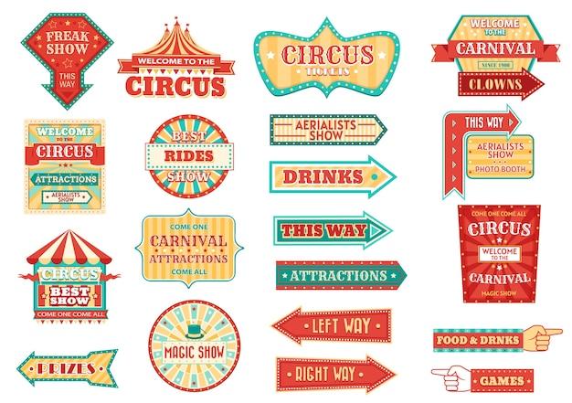 Big top circus toont retro borden, gloeiende pijlwijzers.