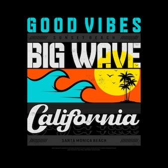 Big wave californië strand typografie grafische vector premium vector