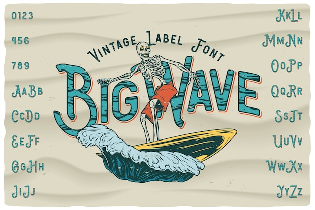 Big wave vintage label lettertype