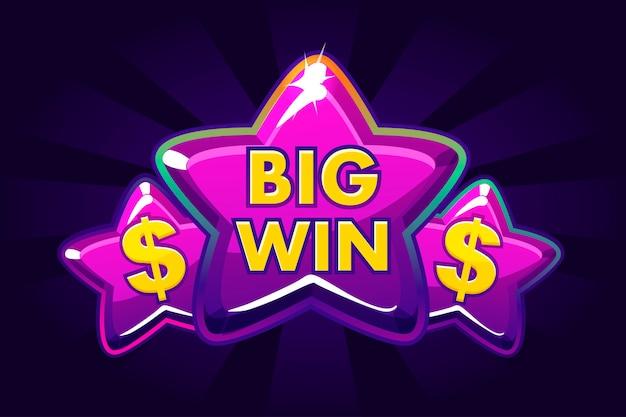 Big win banner achtergrond voor online casino, poker, roulette, gokautomaten, kaartspellen. pictogram violette sterren.
