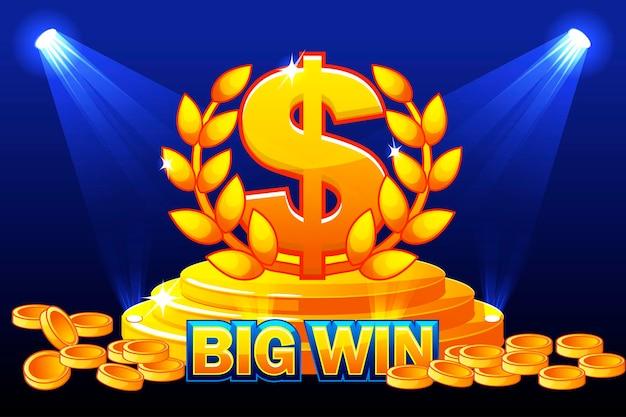 Big win banner en teken dollar award. stapel gouden munten. vectorillustratie voor casino, slots, roulette en game ui. objecten op een aparte laag