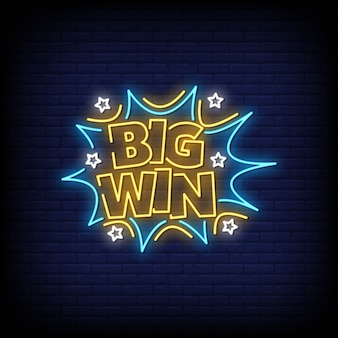 Big win neon signs style text