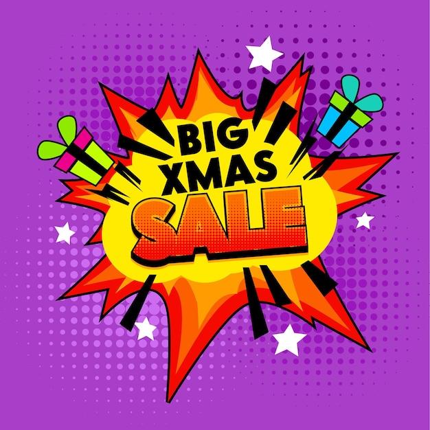 Big xmas sale banner op kleurrijke halftoon gestippelde achtergrond.