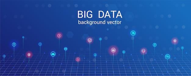 Bigdata analytics, onderzoek, big data info center geïntegreerde business. data grid abstracte achtergrond.