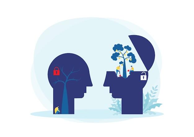 Bighead mens denkt groeimindset verschillend fixed mindset-concept