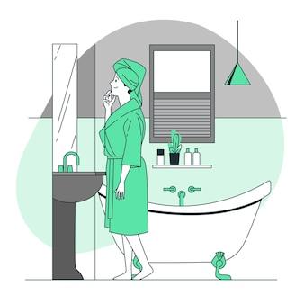 Bij de badkamer concept illustratie