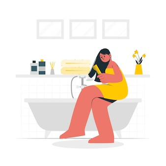 Bij de illustratie van het badkamerconcept