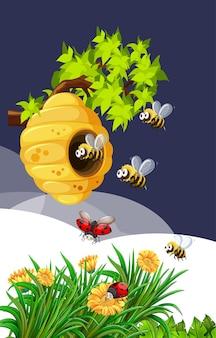 Bij en lieveheersbeestje in de natuur