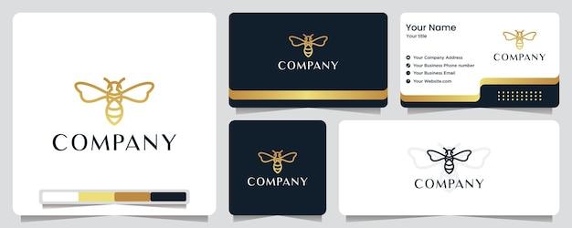 Bij, goudkleur, banner, visitekaartje en logo-ontwerp