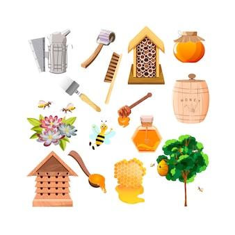 Bij, honingraat, houten honingdipper en glazen pot vol honing