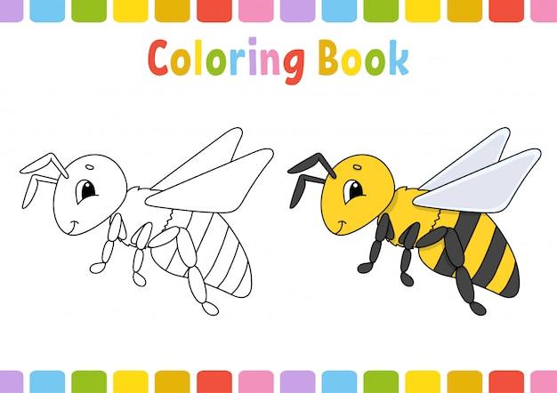 Bij. kleurboek voor kinderen. vrolijk karakter. illustratie.