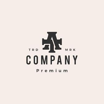 Bij ta letterteken eerste hipster vintage logo sjabloon