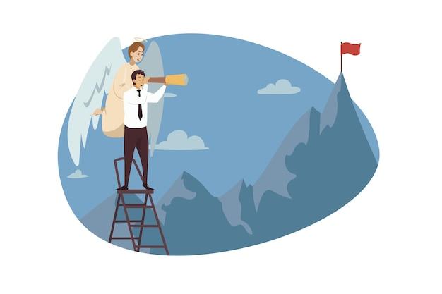 Bijbels karakter van de engel ter ondersteuning van de jonge manager van de zakenmanbediende die de vlag van de bergen bekijkt