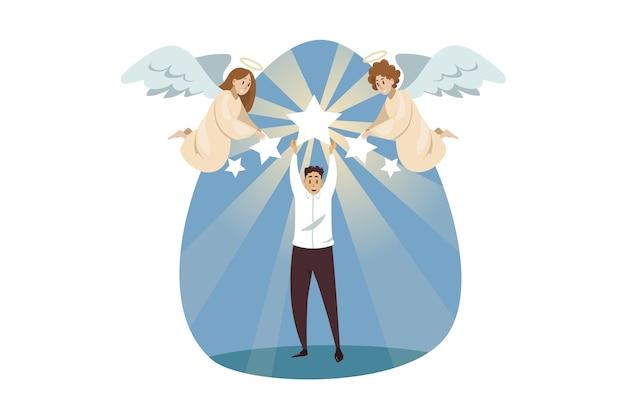 Bijbelse karakters van engelen die de jonge manager van de zakenmanbediende helpen verheerlijken