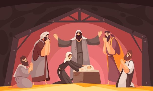 Bijbelverhalen kerstcompositie met karakters van wijze mannen uit het oosten die bidden en heilige moederillustratie